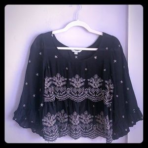 Black blouse with detailing